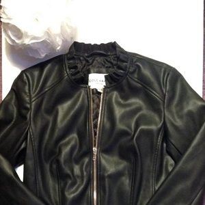 8ed0b1c7b Cole Haan Womens Faux Leather Ruffle Collar Jacket